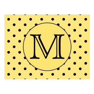 Cartão Postal Teste padrão amarelo e preto do monograma feito