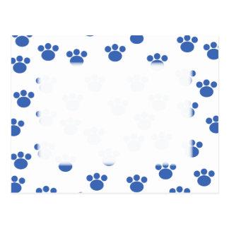 Cartão Postal Teste padrão animal do impressão da pata. Azul e
