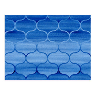 Cartão Postal Teste padrão azul bonito de Ogee da aguarela