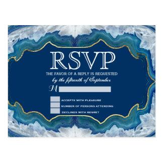 Cartão Postal Teste padrão azul bonito elegante de Geode da