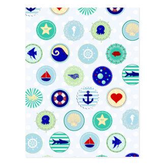 Cartão Postal Teste padrão azul náutico do marinheiro
