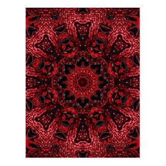 Cartão Postal teste padrão boémio floral vermelho feminino