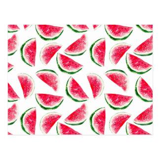 Cartão Postal Teste padrão bonito do abacaxi & da melancia