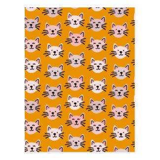 Cartão Postal Teste padrão bonito do gato na mostarda amarela