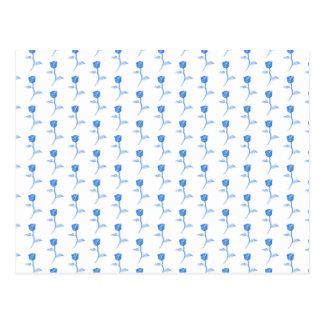 Cartão Postal Teste padrão bonito dos rosas azuis e brancos