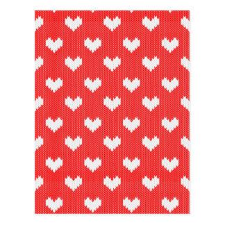 Cartão Postal Teste padrão branco dos corações da malha no amor