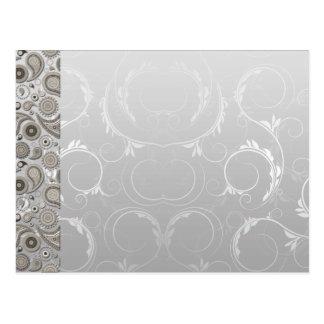Cartão Postal Teste padrão cinzento e branco moderno de paisley