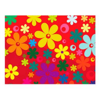 Cartão Postal Teste padrão colorido da paz do amor das flores do