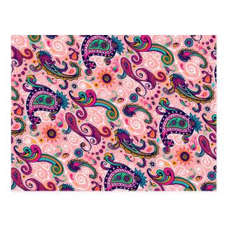Cartão Postal Teste padrão cor-de-rosa bonito de Paisley