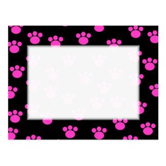 Cartão Postal Teste padrão cor-de-rosa e preto brilhante do