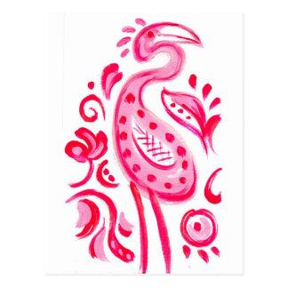Cartão Postal Teste padrão cor-de-rosa Funky de Flamigo Paisley