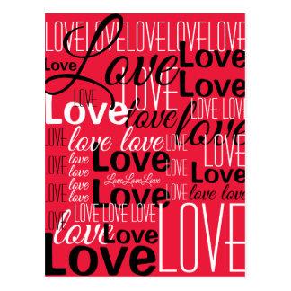 Cartão Postal Teste padrão da arte da palavra do amor