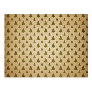 Cartão Postal Teste padrão da árvore do natal vintage