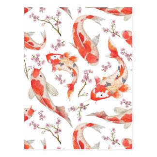 Cartão Postal Teste padrão da flor de cerejeira de Koi
