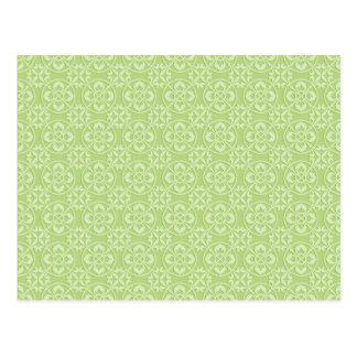 Cartão Postal Teste padrão da flor de lis em verde-maçã