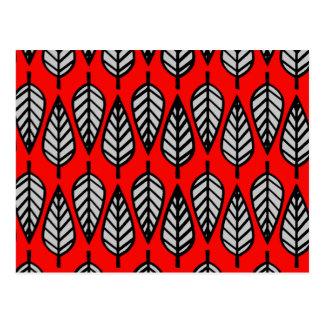 Cartão Postal Teste padrão da folha da faia - vermelho, preto e