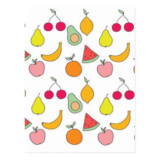 Cartão Postal teste padrão da fruta