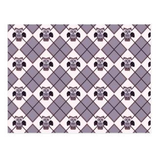 Cartão Postal Teste padrão da violeta da coruja de Argyle