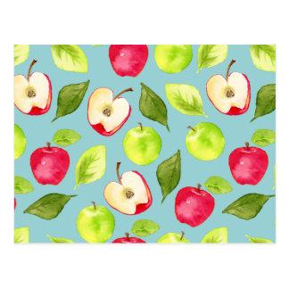 Cartão Postal Teste padrão das maçãs da aguarela