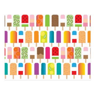 Cartão Postal Teste padrão de bares do sorvete do Popsicle