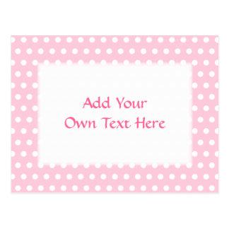 Cartão Postal Teste padrão de bolinhas cor-de-rosa e branco