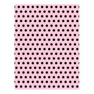 Cartão Postal Teste padrão de bolinhas cor-de-rosa e preto.