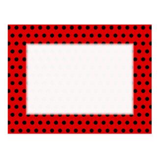 Cartão Postal Teste padrão de bolinhas vermelho e preto.