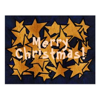 Cartão Postal Teste padrão de estrelas do ouro do Feliz Natal