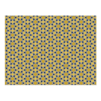Cartão Postal Teste padrão de flor azul amarelo