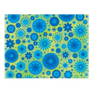 Cartão Postal Teste padrão de flor do hippy do azul e da