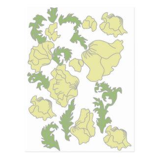 Cartão Postal Teste padrão de flor do nouveau da arte do vintage