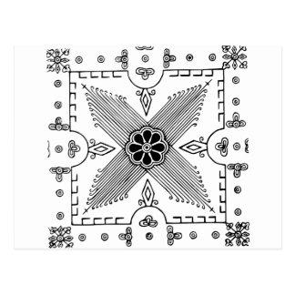 Cartão Postal Teste padrão de flor indonésio simétrico de
