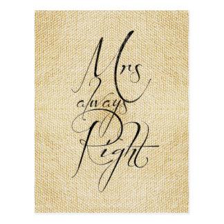 Cartão Postal Teste padrão de linho da Sra. Sempre Direito