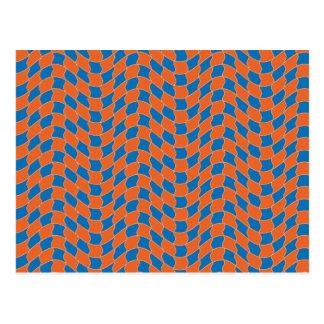 Cartão Postal Teste padrão de onda em azul e em alaranjado