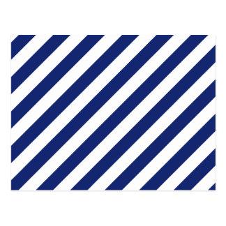 Cartão Postal Teste padrão diagonal do azul marinho e o branco