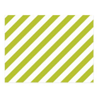 Cartão Postal Teste padrão diagonal verde e branco das listras