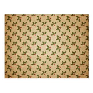 Cartão Postal Teste padrão do azevinho do natal vintage
