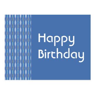 Cartão Postal Teste padrão do azul do feliz aniversario