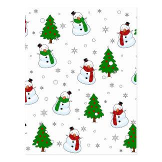 Cartão Postal Teste padrão do boneco de neve