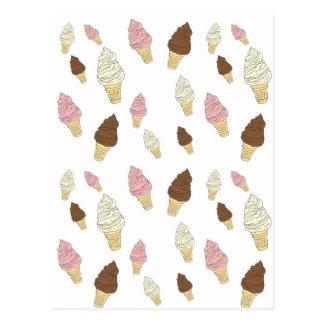 Cartão Postal Teste padrão do cone do sorvete