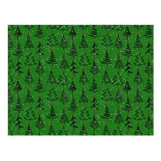 Cartão Postal Teste padrão do feriado da árvore de Natal