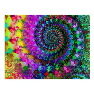 Cartão Postal Teste padrão do Fractal do arco-íris do hippy