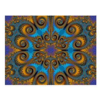 Cartão Postal teste padrão do fractal do floco de paisley