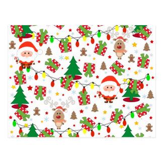 Cartão Postal Teste padrão do papai noel e do Rudolph
