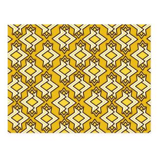 Cartão Postal Teste padrão do papel de parede do art deco, ouro