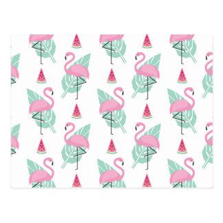 Cartão Postal Teste padrão do Pastel do flamingo & da melancia