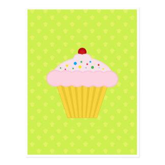 Cartão Postal Teste padrão do verde limão do cupcake