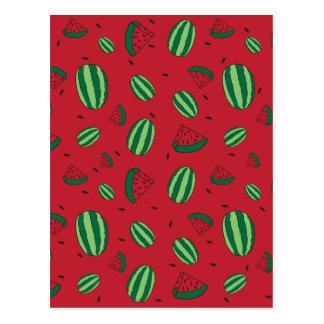 Cartão Postal Teste padrão do vermelho da melancia
