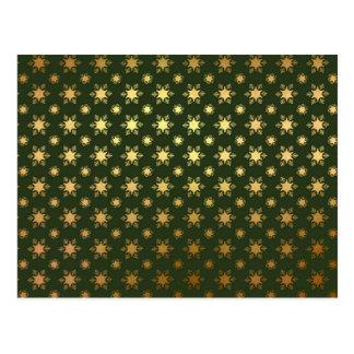 Cartão Postal Teste padrão elegante da folha de ouro do floco de