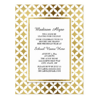 Cartão Postal Teste padrão elegante do ouro/cartão floral do